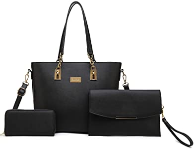 1a39c5181ff75 Amazon.com: Women Tote Handbag + Envelopes + Wallet 3 Piece Set Bag  Shoulder Bag for Work (Black): Shoes