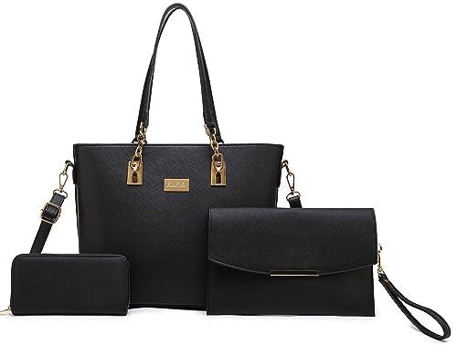 59b5d361c39 Women Tote Handbag + Clutch Bag + Wallet 3 Piece Set Bag Shoulder Bag for  Work