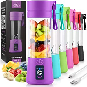 Zulay Portable Blender For Shakes And Smoothies - USB Rechargeable Portable Smoothie Blender Small For Travel - 13oz Capacity Personal Mini Blender Portable - Purple