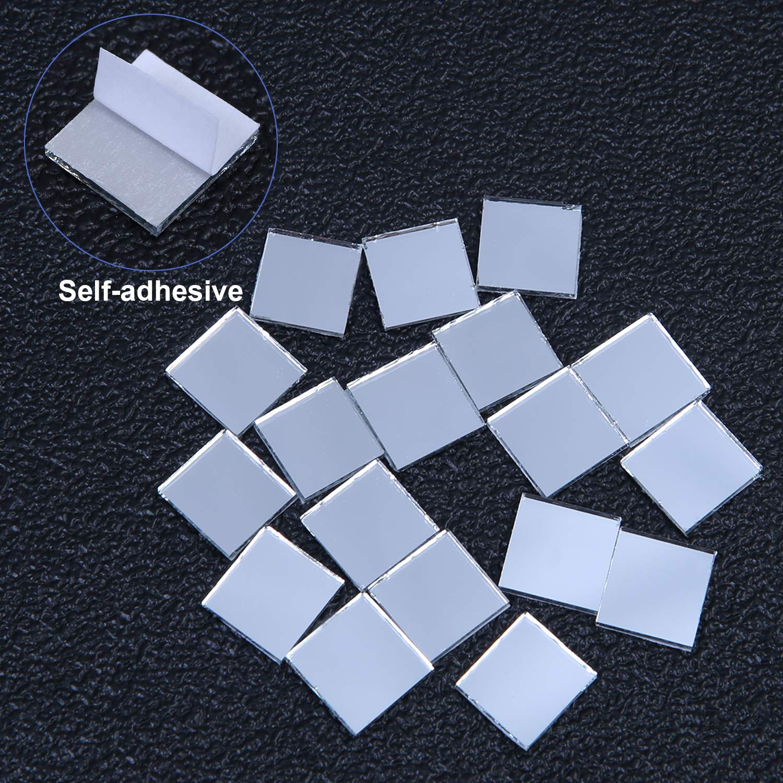 Ruisita 900 Pieces Self-Adhesive Mini Square Glass Mirrors Mosaic Tiles Mirror Mosaic Stickers for DIY Craft Decoration 900 1 x 1 cm