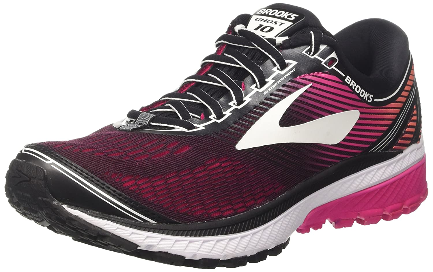 Brooks Women's Ghost 10 Running Shoe B01MTL1OFR 5.5 B(M) US|Black/Pink Peacock/Living Coral