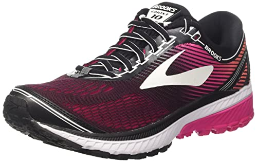 Brooks Women's Ghost 10 Black/Pink Peacock/Living Coral 6 D US