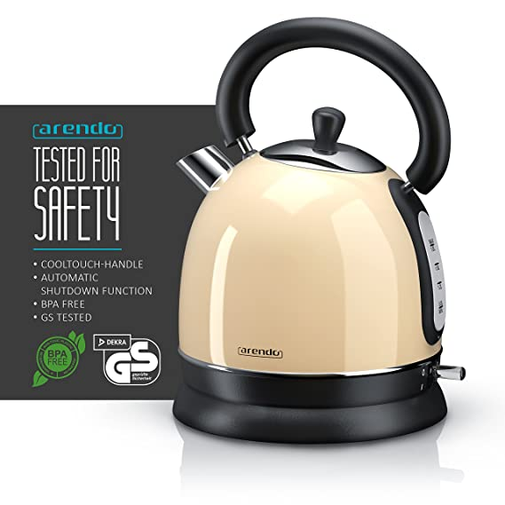 Arendo - 3.000 W turbo hervidor de agua vatios Tetera de acero fino/en diseño retro (forma de tetera) | cocción rápida | filtro de cal integrado extraíble ...