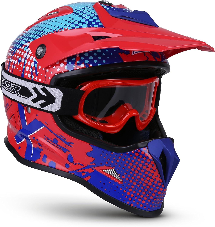 Fusion Blau XXS ECE Schnellverschluss SlimShell Tasche Soxon SKC-33 Kinder-Cross-Helm 49-50cm