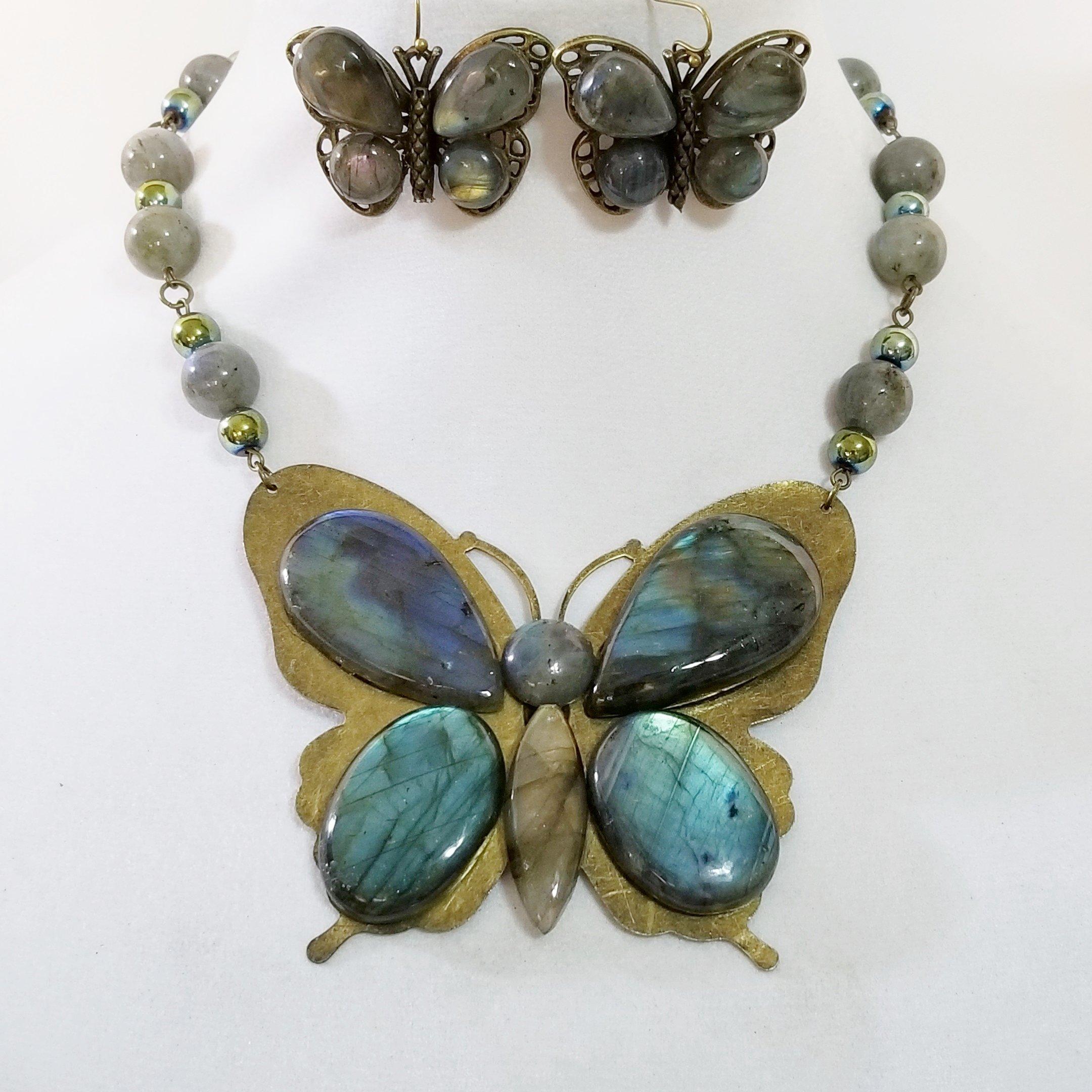 Big Butterfly Pendant Gemstone Labradorite Necklace Earrings Handmade