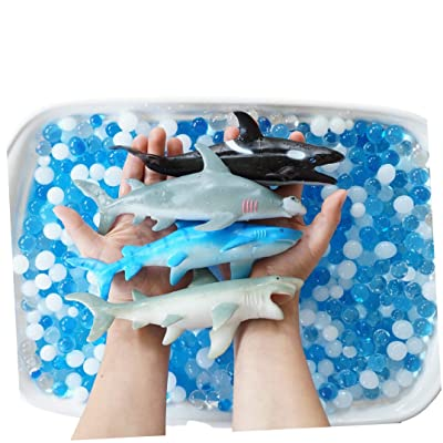 SENSORY4U Ocean Water Beads Swimming with Sharks Sensory Kit - Large Shark Toys Included - Dew Drops Offer Great Fine Motor Skills and Sensory Bin Kit for Kids: Toys & Games