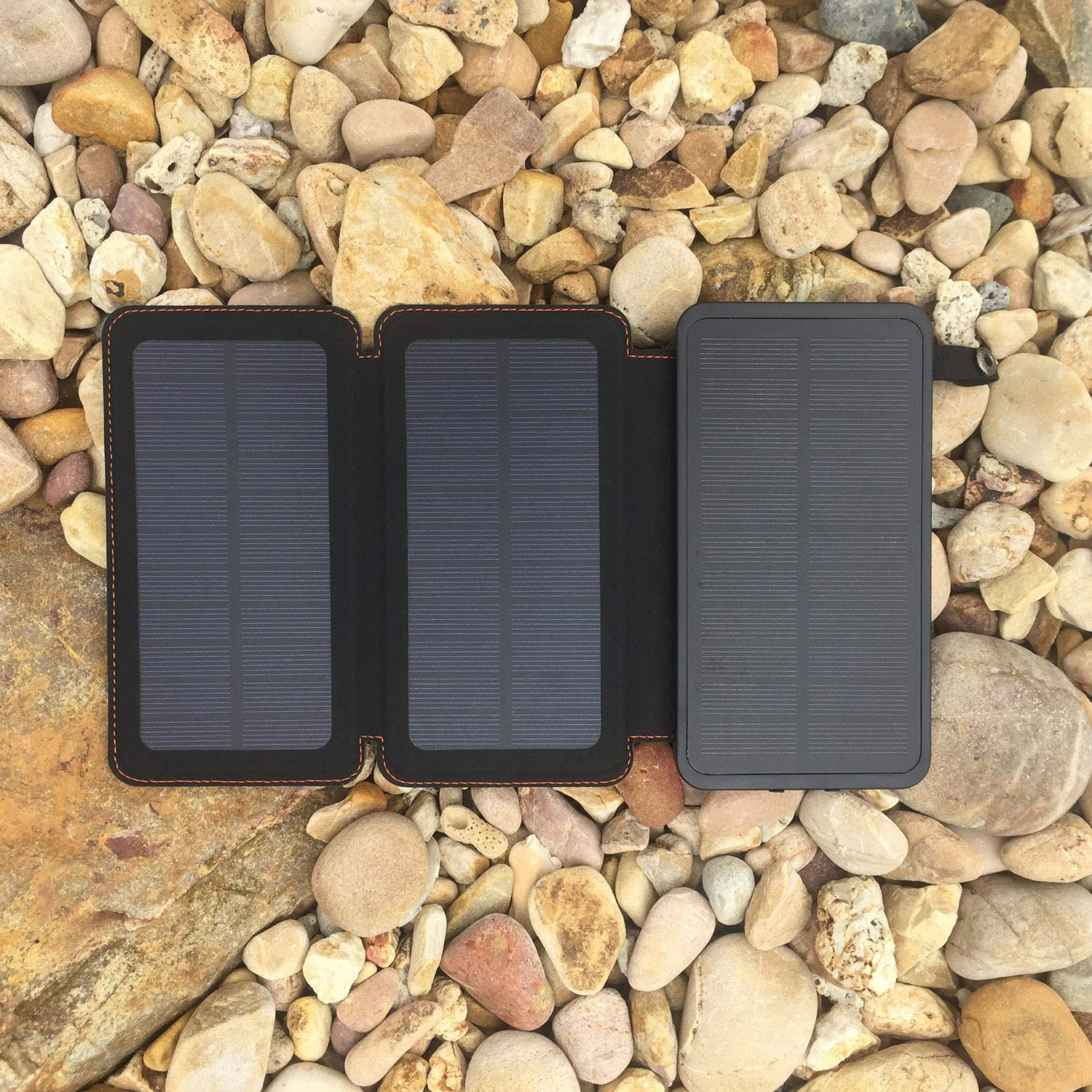 WBPINE Solar Charger 24000mAh,Solar Power Bank Waterproof Dual USB Output with 3 Solar Panels External Battery Bank Flashlights for Cellphone,Bluetooth Speaker and More Orange