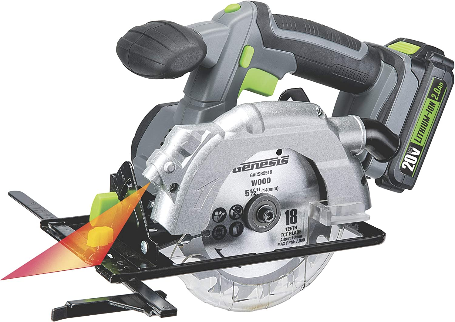 "Genesis GLCS2055A 20V Cordless Lithium-Ion Battery-Powered 5 1/2"" Circular Saw with Built-In Laser Guide, Electric Brake, 18T Carbide-Tipped Blade, Rip Guide, Battery, Charger, and Blade Wrench"