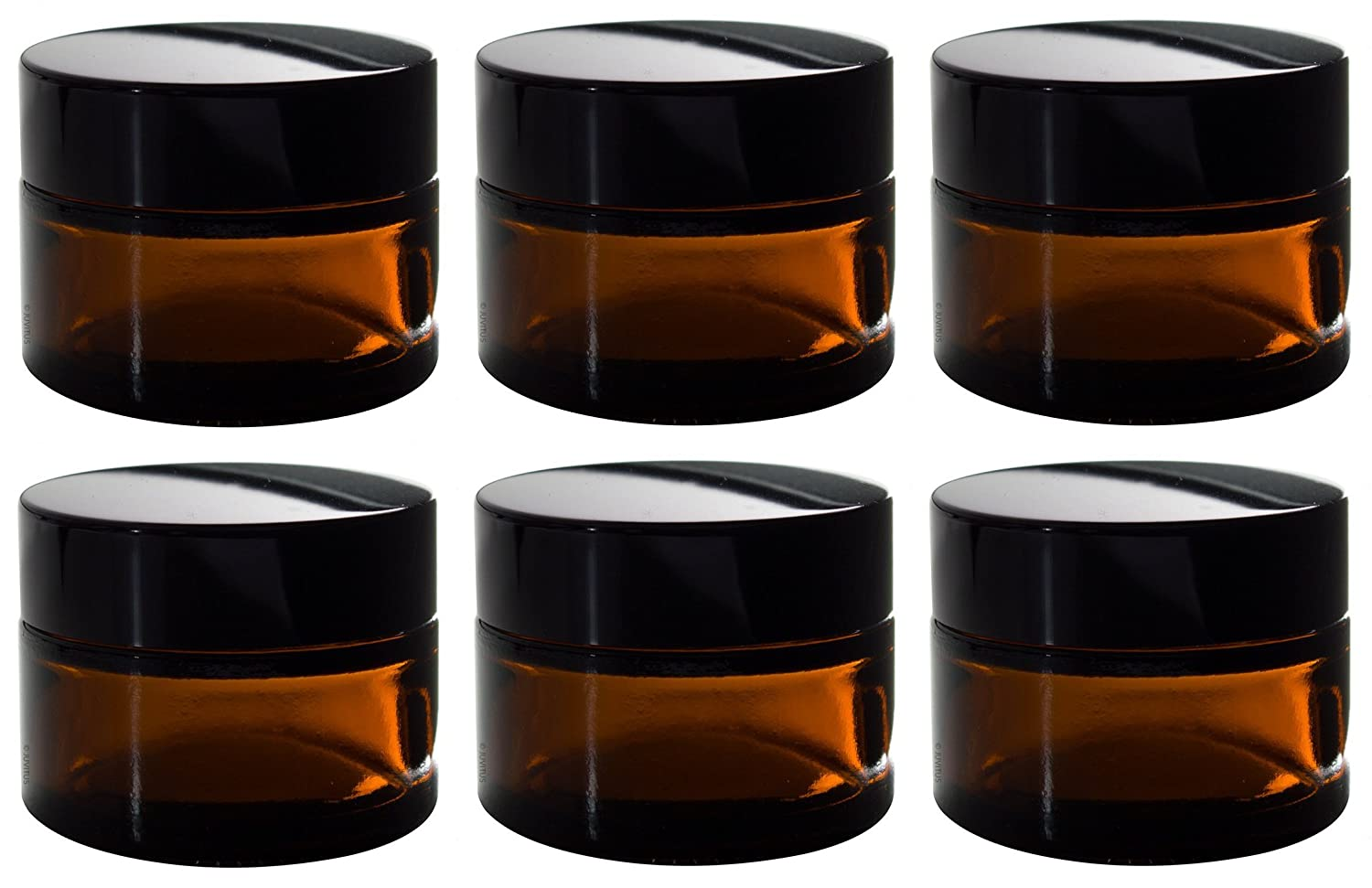 291816b8acff Amber Glass Thick Heavy Wall Balm Jar with Liner - 1 oz / 30 ml (6 Pack) +  Spatulas and Labels