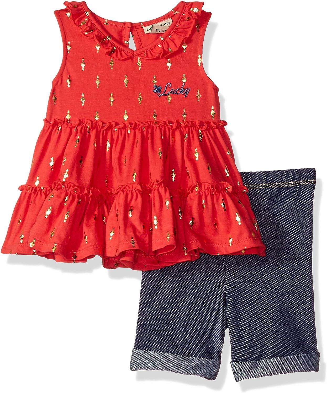 Lucky Brand Baby Girls Denim Bermuda Set