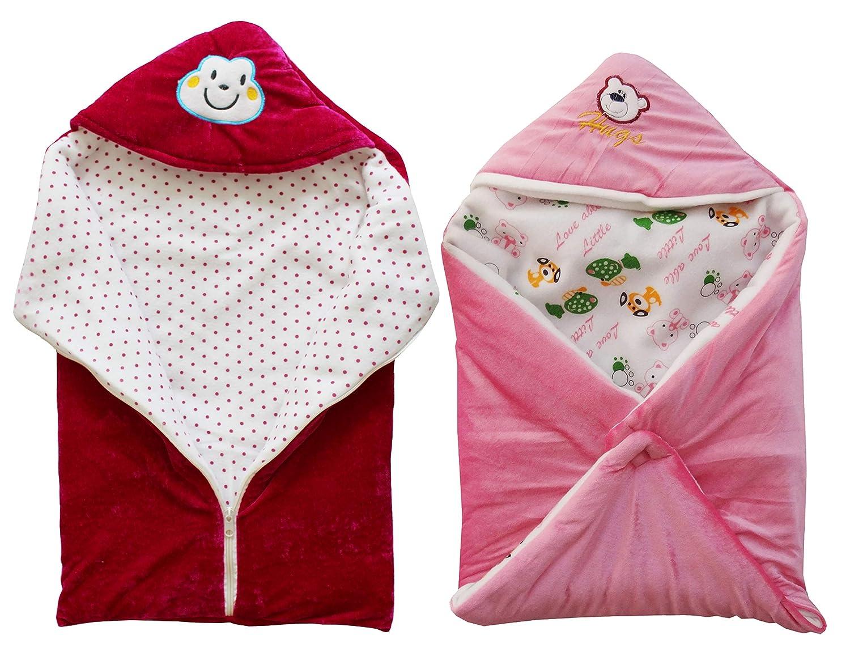 My NewBorn Velvet Baby Blanket Baby Fleece Wrapper with Velcro and Baby Sleeping Bag with Zipper (MagentaZip-PinkHood) -Combo of 2