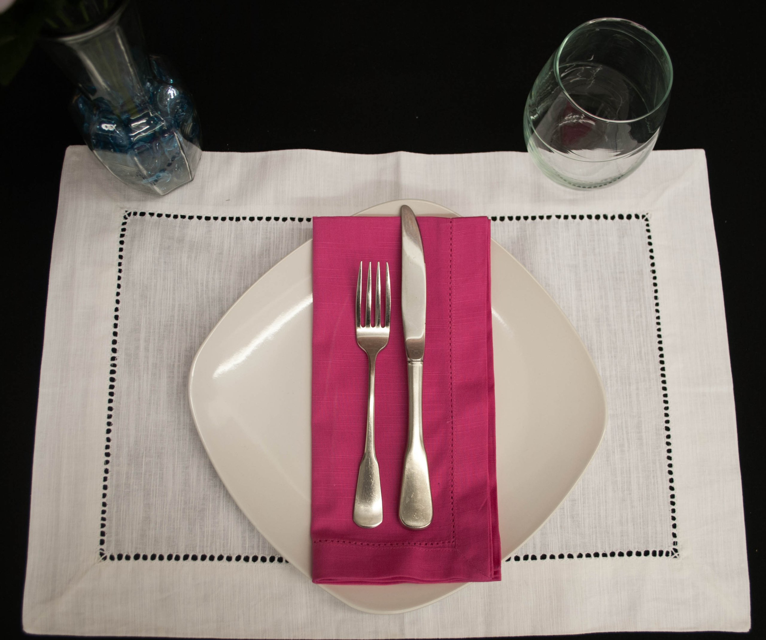Hemstitch Dinner Napkins Hot Pink 1 Dozen by Something Different Linen (Image #2)