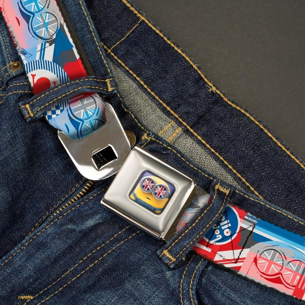 Buckle-Down Seatbelt Belt 1.0 Wide Bob British Invasion HELLO LONDON Blues//White//Reds 20-36 Inches in Length
