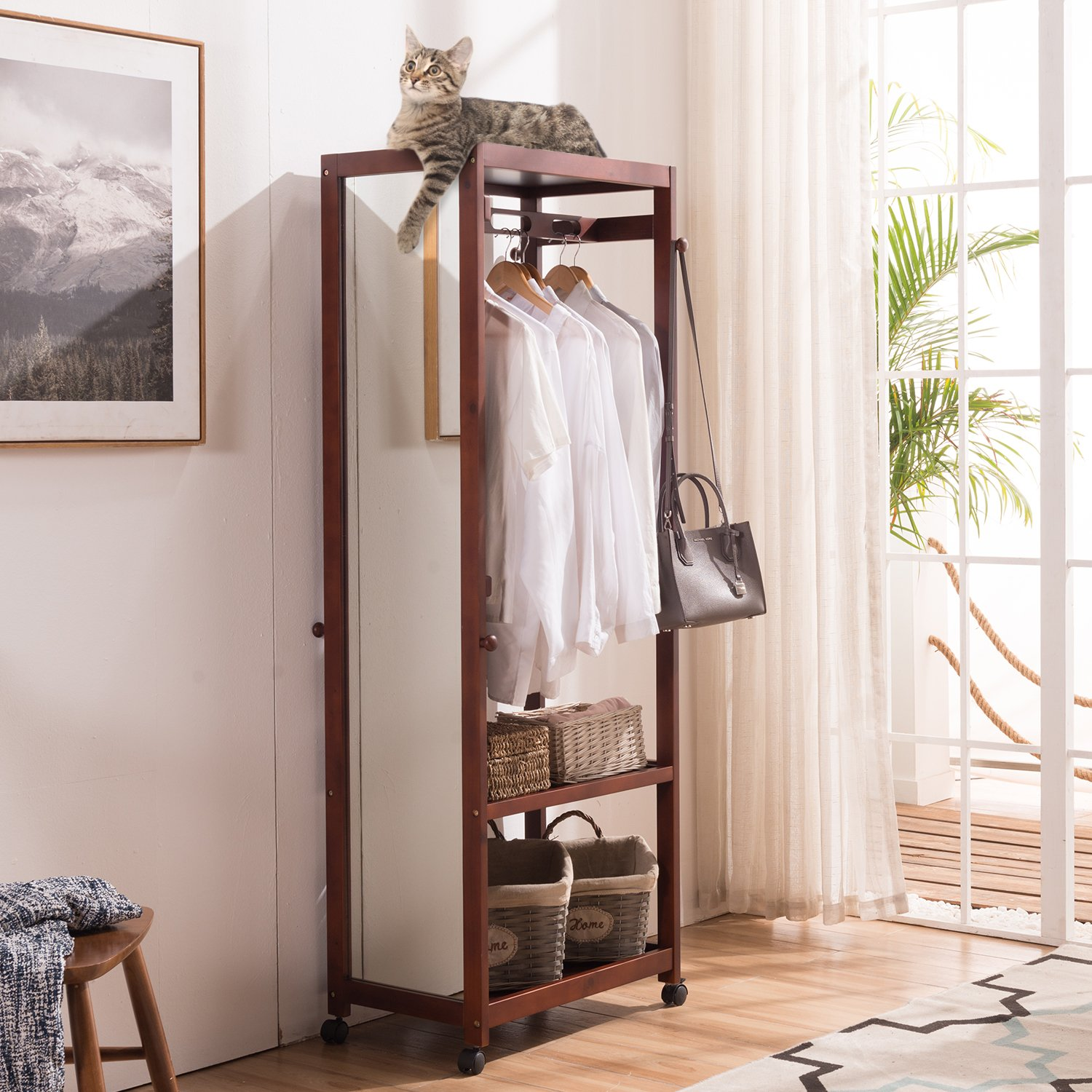 Tiny Times 67'' Tall Free Standing Closet Wardrobe Bedroom Armoires with Full Length Dressing Floor Mirror,Brake Wheels,Hanger Rod,Coat Hooks,Entryway Storage Shelves Organizer-Solid Pine Wood,Brown by Tiny Times