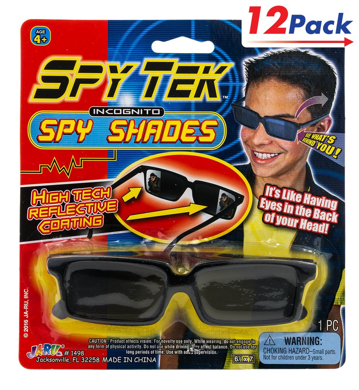 JA RU Spy Glasses by 2GoodShop | Spy Gear Pretend Play Secret Agent Reflective Shades for Kids Pack of 12 | Item #1498
