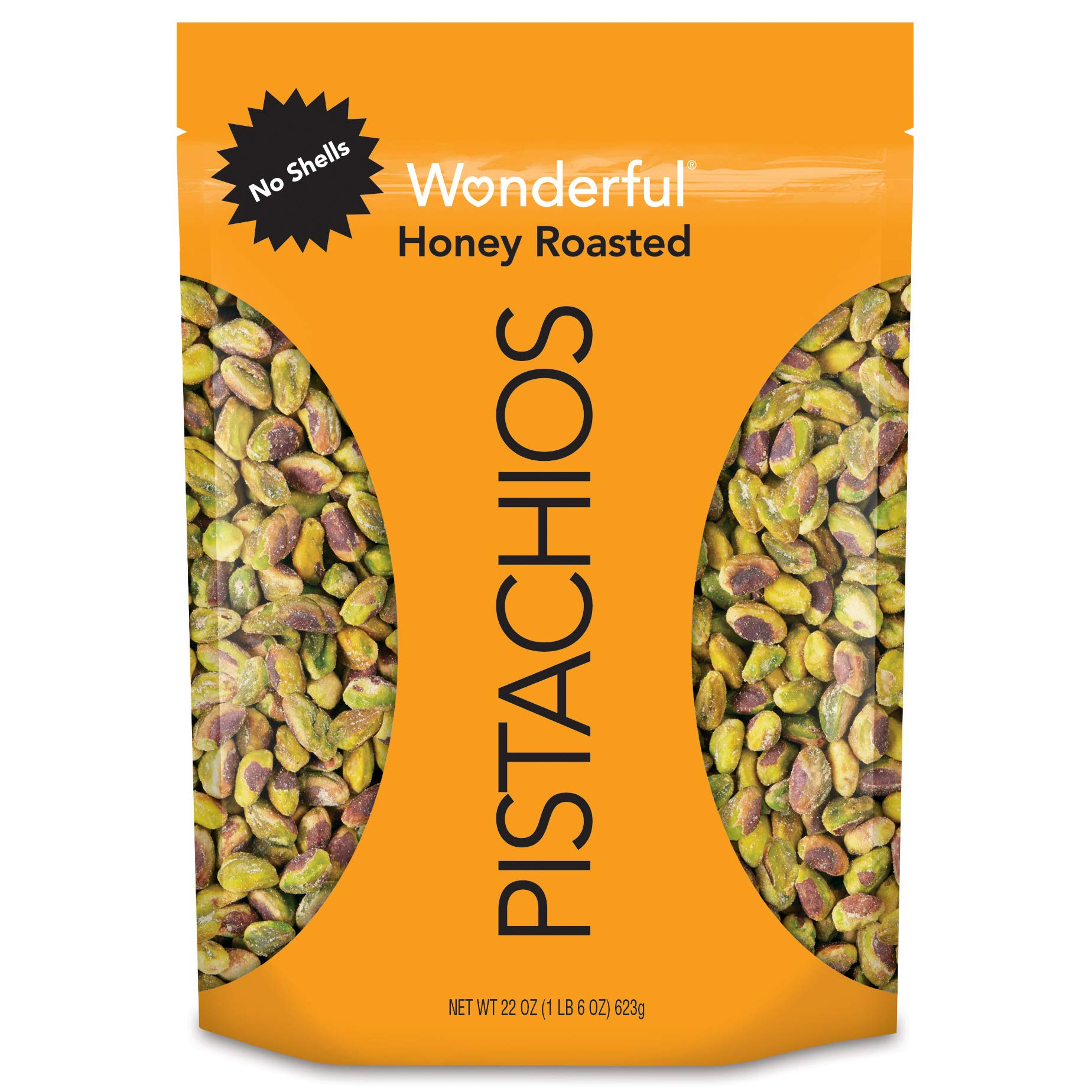Wonderful Pistachios, No Shells, Honey Roasted, 22 Oz Resealable Pouch by Wonderful Pistachios & Almonds