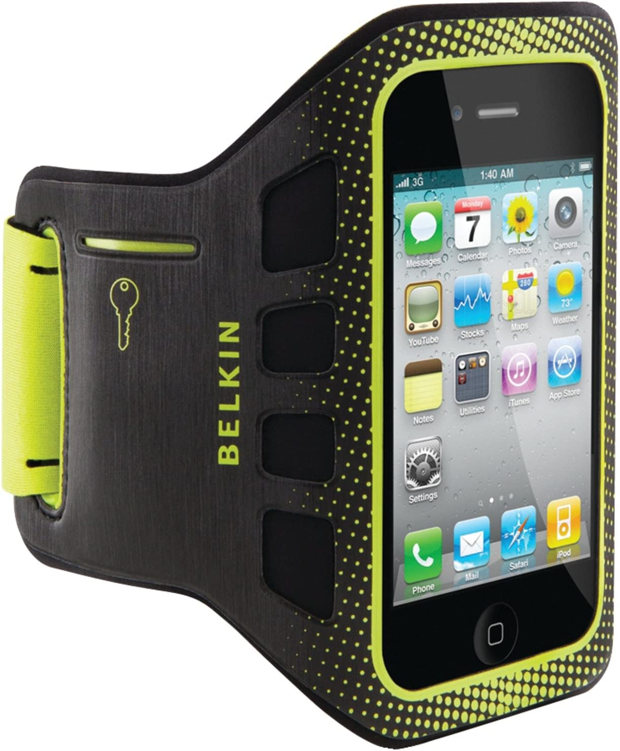 Belkin Ease-Fit Sport Armband for iPhone 4 and iPhone 4S (Black/Limelight)