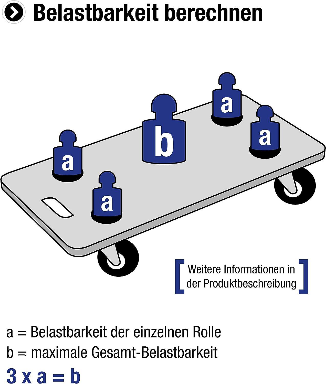 Poids Lourds r/ôle Meister Roulette fixe ✓ 105/x 80/mm Plaque ✓ caoutchouc plein /élastique de roues ✓ doux chappe ✓ r/ôle Roulement Meubles r/ôle 803400 Transport r/ôle