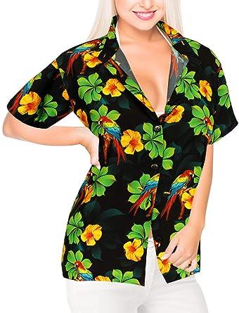 087fb8eedea6 LA LEELA 3D Printed Women's Hawaiian Shirt Blouse Top Short Sleeve Casual  Button up Work Beach