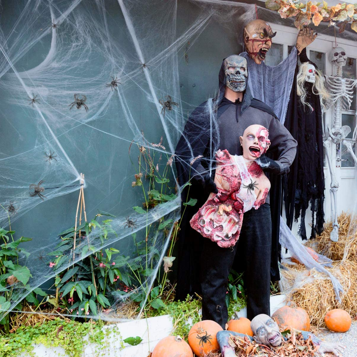 Halloween Stretch Spider Web,Spooky Cobwebs Web with Fake Spiders for Outdoor Indoor Graveyard Haunted House Decor