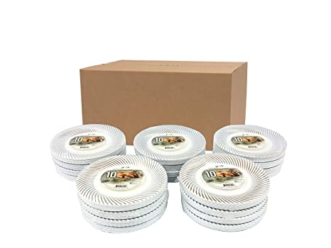 Privat 50 plastic plates (6 Inch) DELUXE CATERING PLASTIC PLATES WITH SEA SHELL STAMP