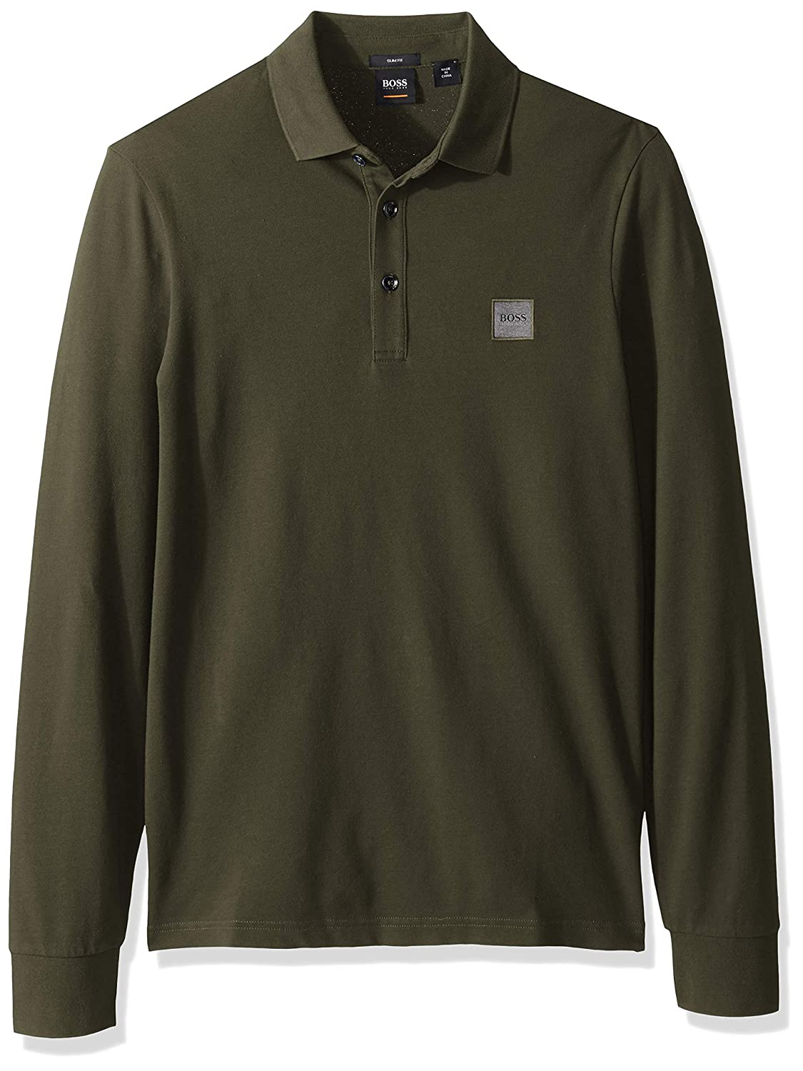 dcbb5770 Amazon.com: Hugo Boss Men's Passerby Long Sleeve Polo with Chest Logo  Patch: Clothing