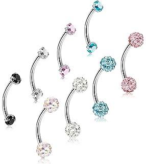 77e052d36 ORAZIO 8-12Pcs 16G Stainless Steel Eyebrow Ring Lip Ring Body Piercing  Jewelry 6-