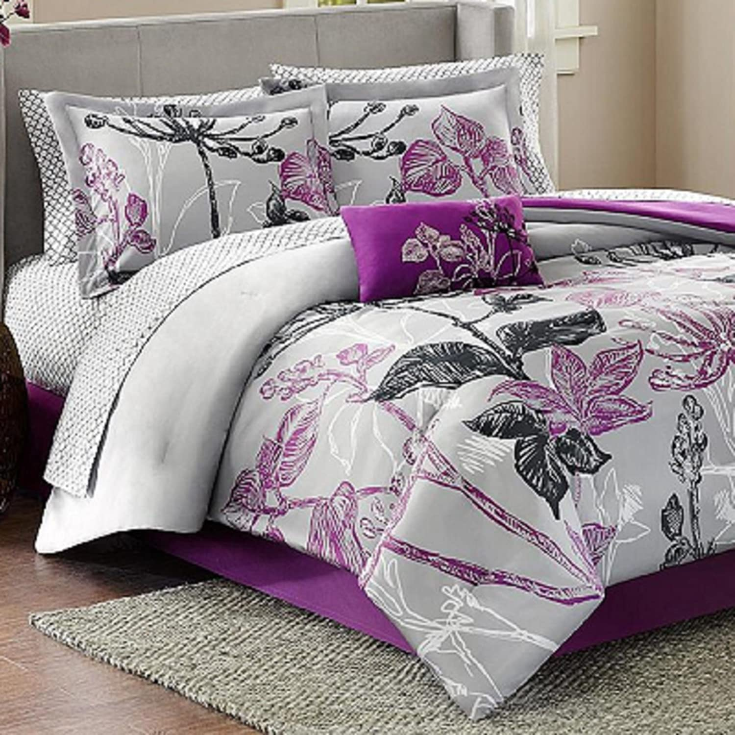 Madison Park Essentials Claremont Complete Bed and Sheet Set, King, Purple