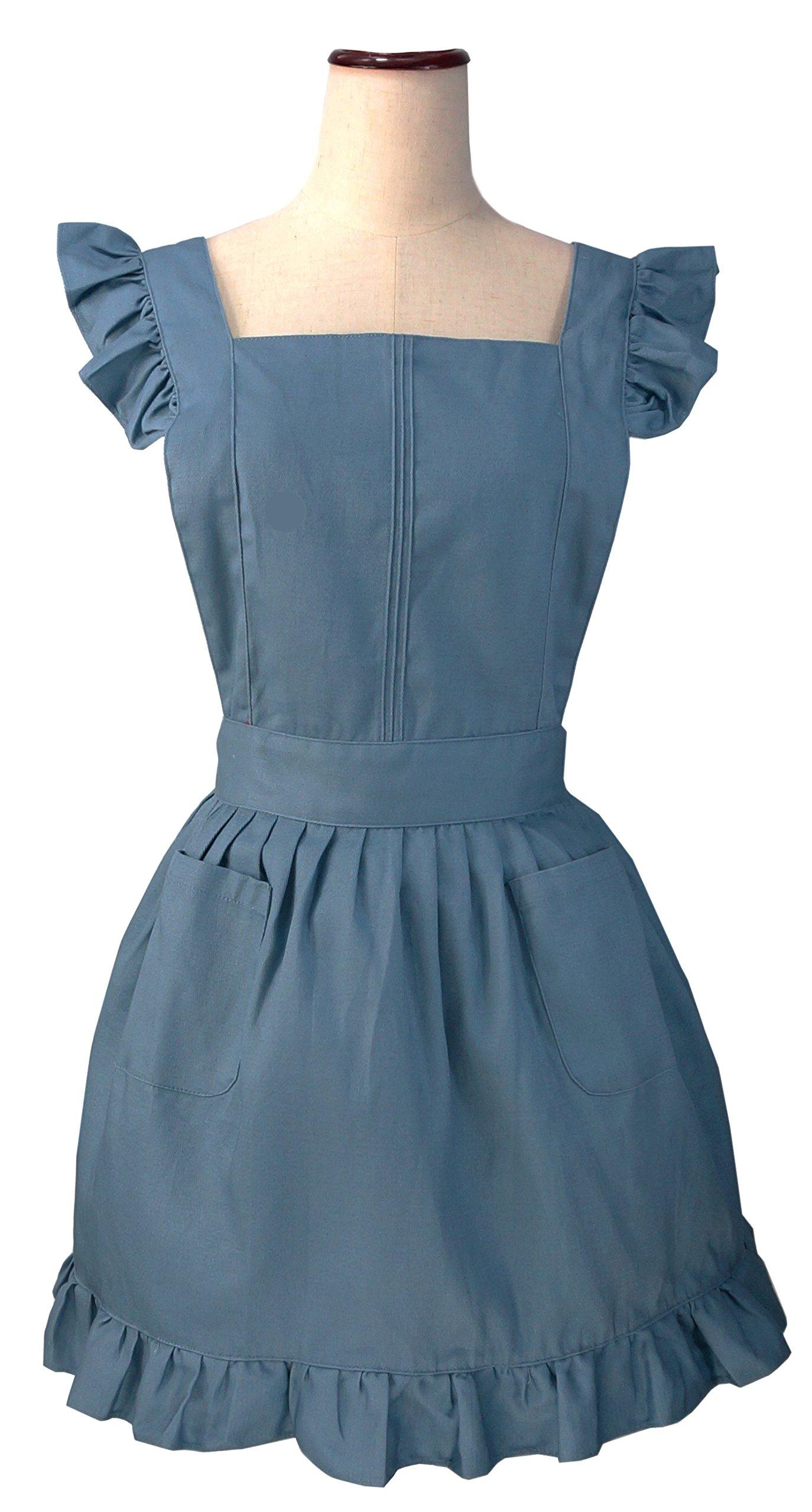 White ruffle apron amazon - Lilments Retro Adjustable Ruffle Apron Kitchen Cooking Baking Cleaning Maid Costume Blue