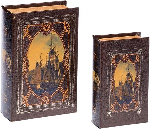 Caja de madera 2 caja en forma de libro libro joyero velero estilo ...
