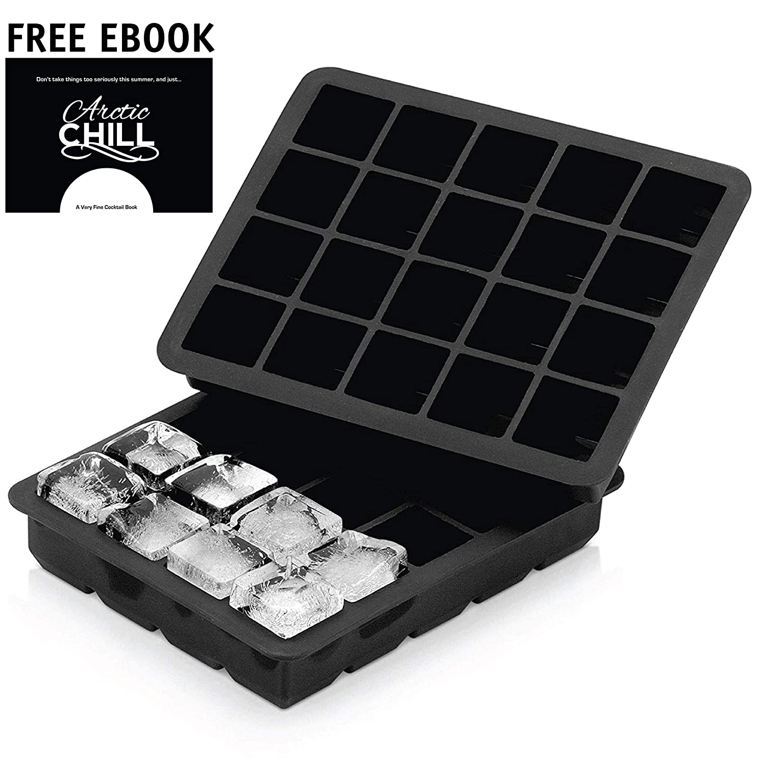 Arctic Chill 1 Inch Silicone Ice Cube Tray for Chilled Drinks, Cocktails & Whiskey, Dishwasher Safe, BPA Free, FDA Approved, Set of 2