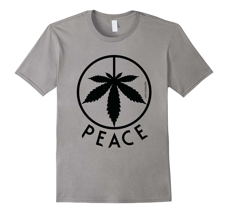 Peace Sign Weed Cannabis Leaf Hippie Marijuana Love T-Shirt-T-Shirt