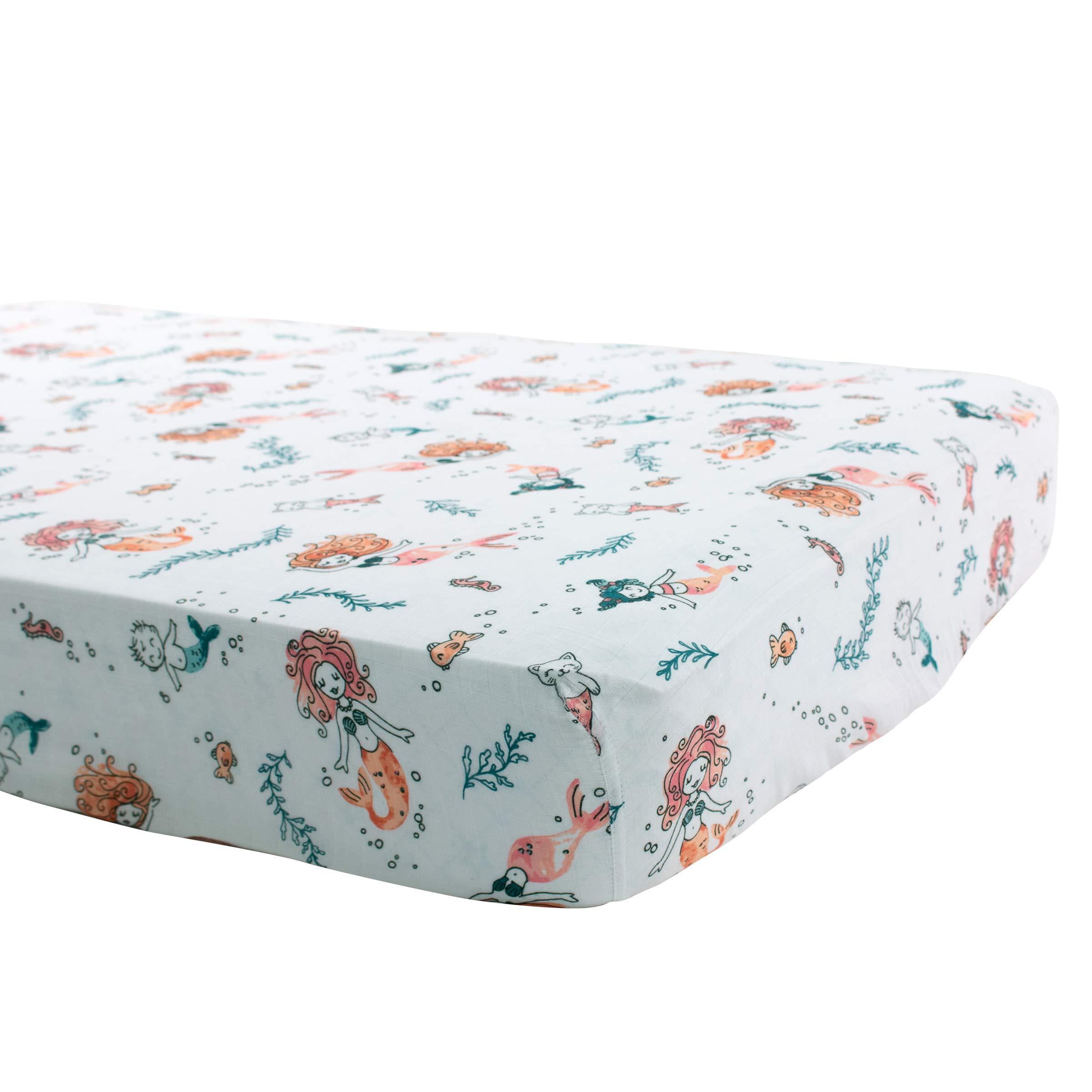 Bebe au Lait Oh So Soft Muslin Crib Sheet, Mermaids by Bebe au Lait