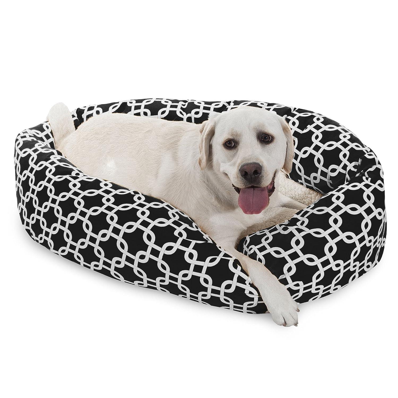 40 Inch Black Links Sherpa Bagel Dog Bed