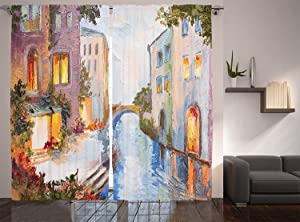 Ambesonne Lakehouse Decor Collection, Historical Cityscape with Vintage Houses Along Water Canal in Venice Italy Oil Painting, Living Room Bedroom Curtain 2 Panels Set, 108 X 84 Inches, Blue Lilac