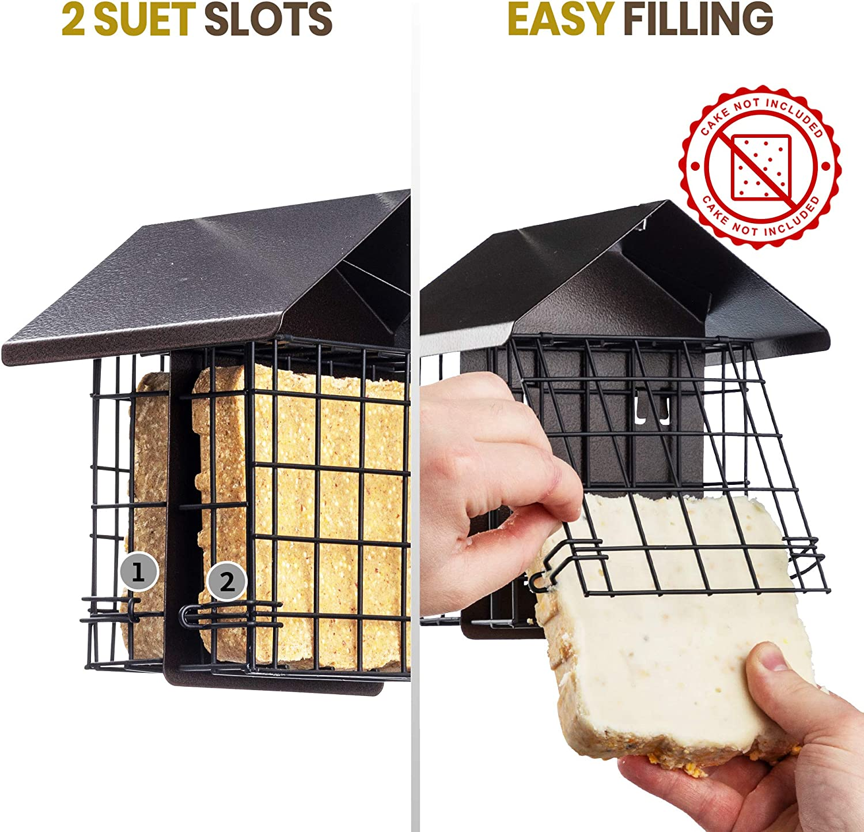 Suet Bird Feeder for Outside [Double Capacity] Suet Wild Bird Feeder with Hanging Metal Roof, Suet Feeders for Outside, for Use with Suet Cakes, Seed Cakes, Mealworm Cakes : Garden & Outdoor