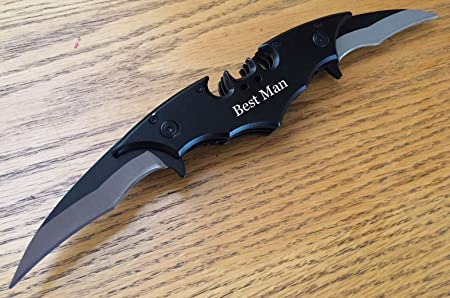 """11"""" Personalized Engraved Batman Dual Blade Knife"""