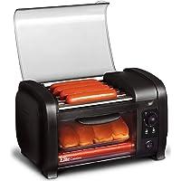 Elite Cuisine EHD-051B Hot Dog Toaster Oven, 30-Min Timer, Stainless Steel Heat Rollers Bake & Crumb Tray, World Series Baseball, 4 Bun Capacity, Black