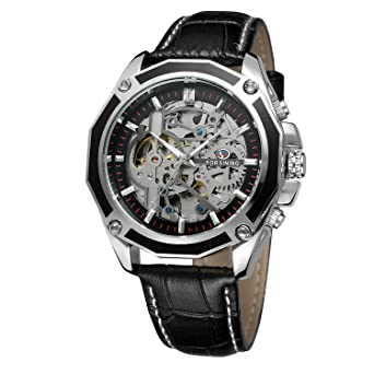 FORSINING Mens Skeleton Mechanical Watch Reloj Automatic Movtment Male Clock with Genuine Leather Strap