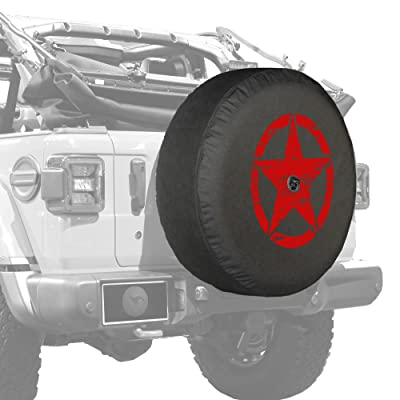 """Boomerang - 32"""" Soft JL Tire Cover for Jeep Wrangler JL (with Back-up Camera) - Sport & Sahara (2020-2020) - Distressed Star - Red Print - Made in The USA: Automotive"""