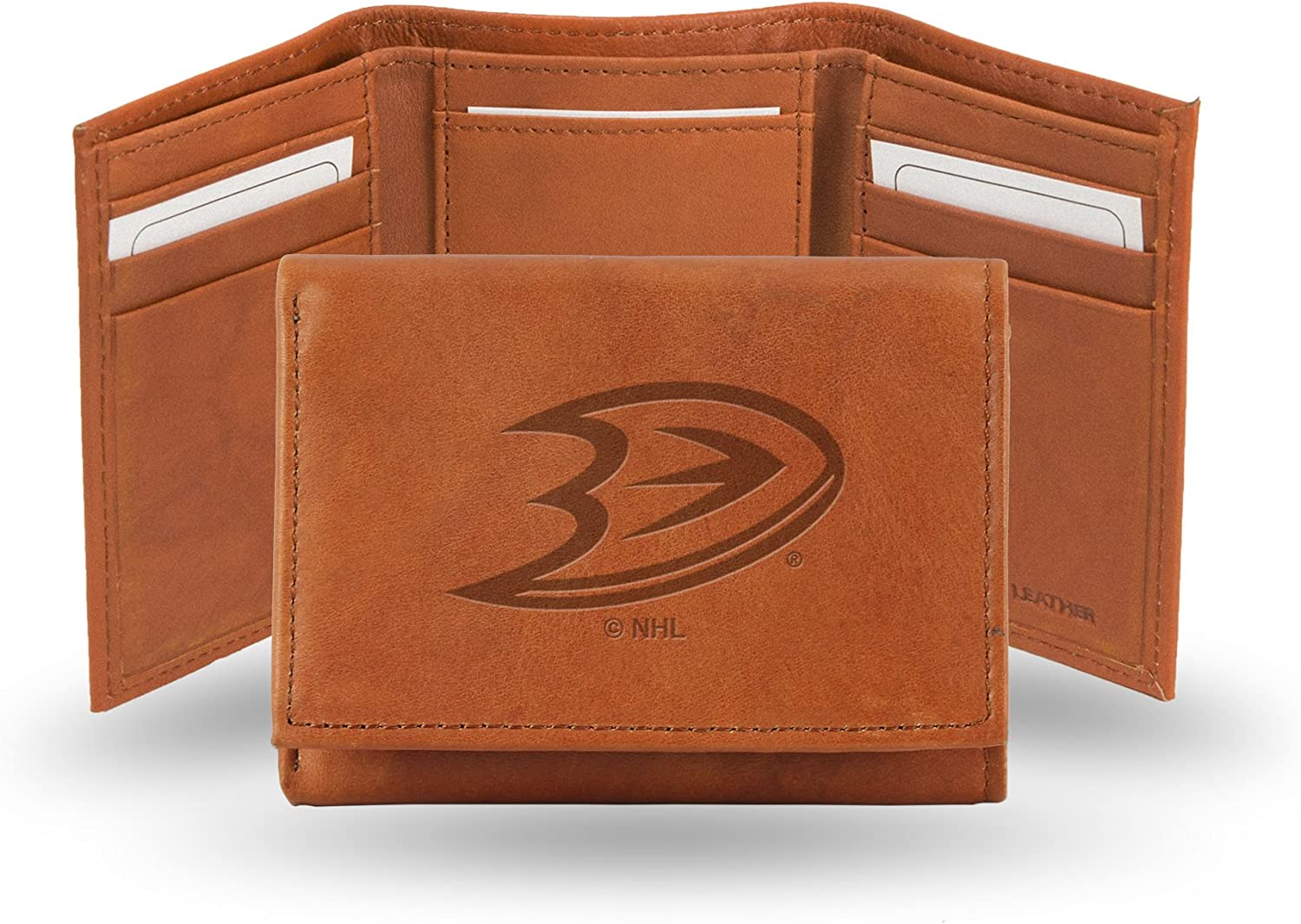 Calgary Flames NHL Embroidered Leather Billfold Wallet NEW in Gift Tin