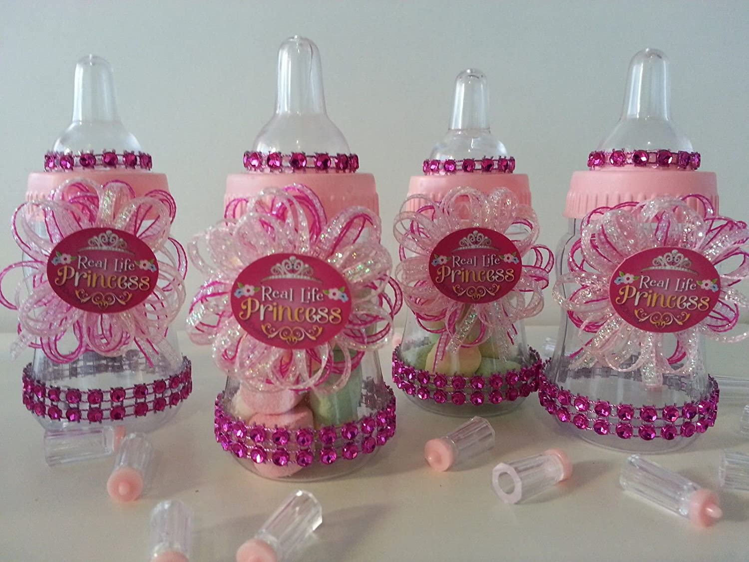 12 Small Baby Shower Fillable Bottles Party Favors Decoration Girl Pink