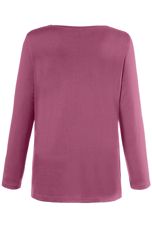 Knopfleiste Ulla Popken Damen Basic-Shirt Rundhalsausschnitt Bluse Regular