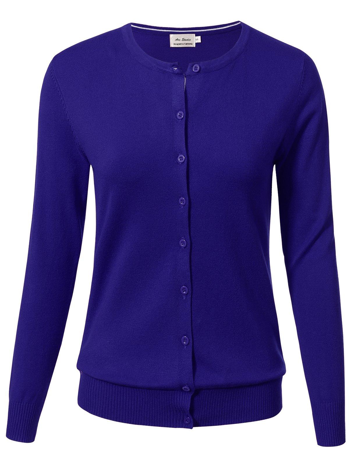 Women Button Down Long Sleeve Crewneck Soft Knit Cardigan Sweater S Royalblue