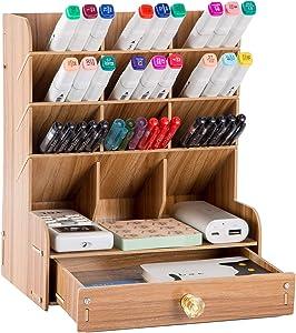 YCOCO Wooden Desk Organizer,Multi-Functional Desk Pen Holder Organizer,Desktop Stationery Organizer,Home Office Art Supplies Storage Box Rack with Drawer,Brown