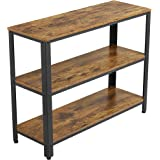 YAHEETECH Industrial Console Table,Entryway Side Table with 3 Tier Storage Shelves, Hallway Side Table and Sideboard…