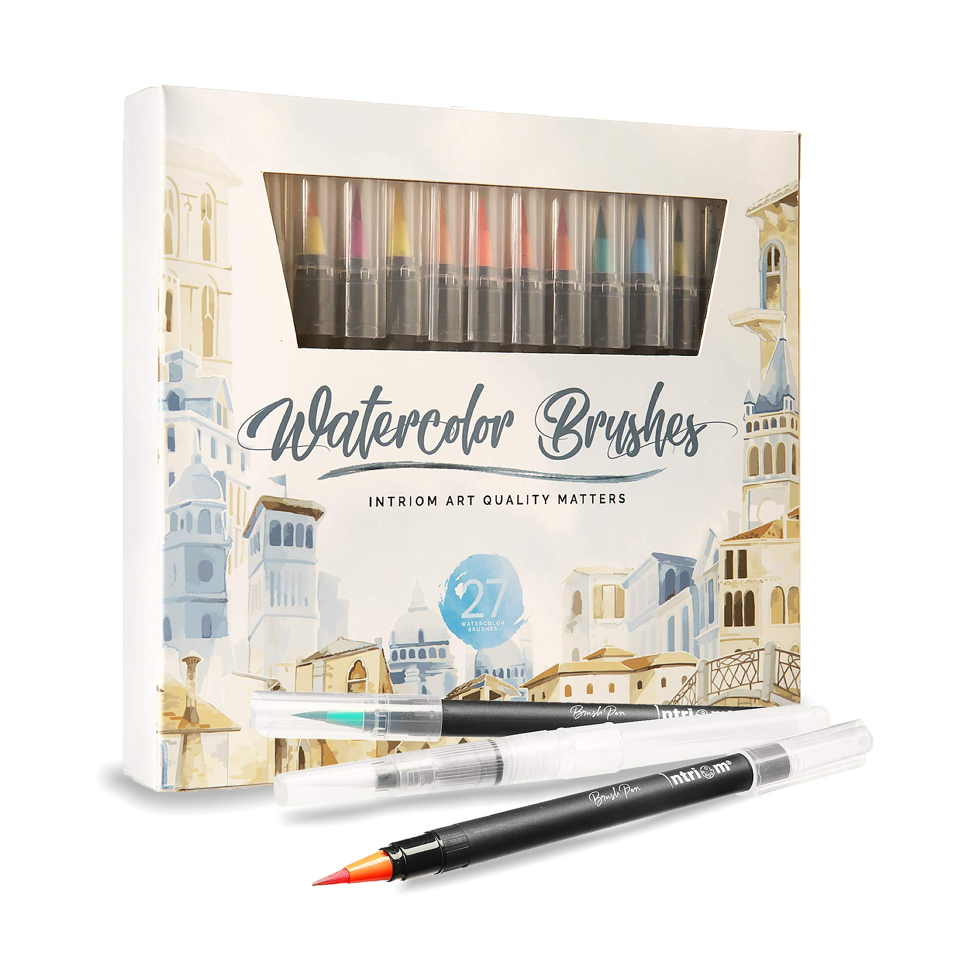 Watercolor Brush Pens Assorted Set | Colored + 3 Watercolor Brush Pens +8 Watercolor Paper | Complete Art Supply Coloring & Inking Markers W/Real Brush Tips & Carrying Case | Nontoxic (27) by Intriom