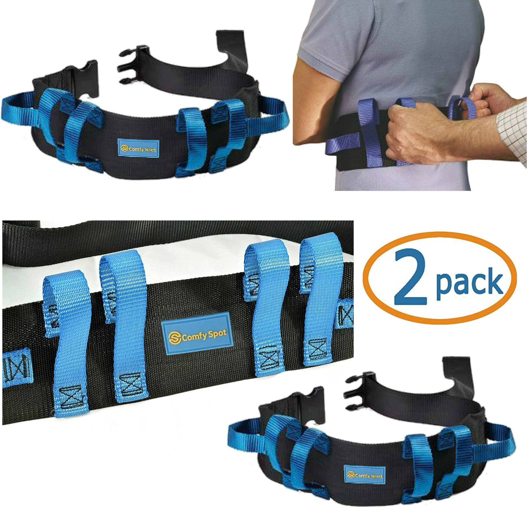 Gait Belt Transfer Belt 2 Pack with Quick Release Lifts Medical Safety Belts for Elderly to Lift and Transfer Physical Therapy Belt Straps and Elderly Care Lifts by Kitchen Krush