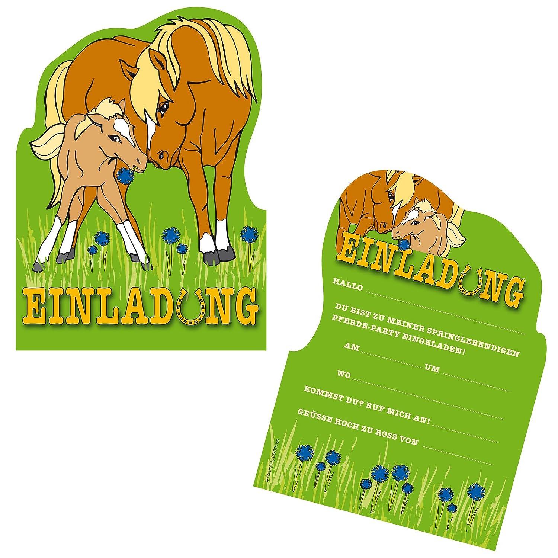 6 Einladungskarten * PONY / PFERD * Für Kindergeburtstag Und Party Von  DEKOSPASS // Kinder Geburtstag Party Kinderparty Dinoparty Einladung  Einladungen ...