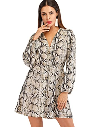 4b391058ec SheIn Women's Casual V Neck Long Sleeve Button Up Printed Short Dress  Multicolored S